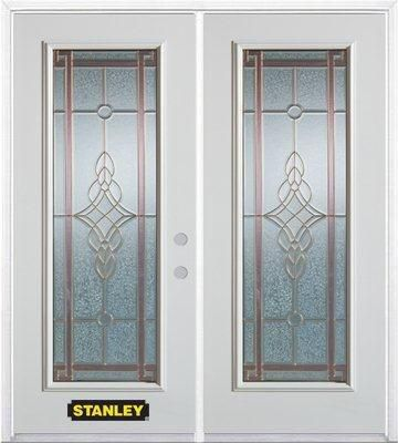 70-inch x 82-inch Milano Full Lite White Double Steel Door with Astragal and Brickmould