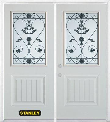 70-inch x 82-inch Blacksmith 1/2-Lite 1-Panel White Double Steel Door with Astragal and Brickmoul...