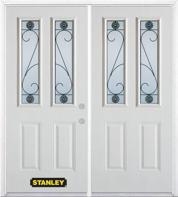 Stanley Doors 75 inch x 82.375 inch Blacksmith 2-Lite 2-Panel Prefinished White Left-Hand Inswing Steel Prehung Double Door with Astragal and Brickmould