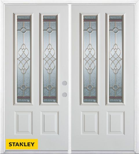 66-inch x 82-inch Milano 2-Lite 2-Panel White Double Steel Door with Astragal and Brickmould