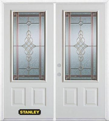 74-inch x 82-inch Milano 3/4-Lite 2-Panel White Double Steel Door with Astragal and Brickmould