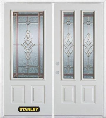 70-inch x 82-inch Milano 2-Lite 2-Panel White Double Steel Door with Astragal and Brickmould