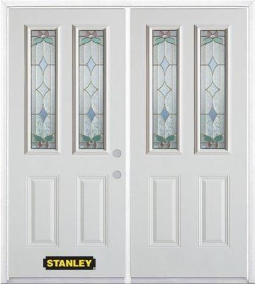 74-inch x 82-inch Aristocrat 2-Lite 2-Panel White Double Steel Door with Astragal and Brickmould