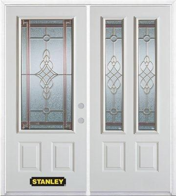 74-inch x 82-inch Milano 2-Lite 2-Panel White Double Steel Door with Astragal and Brickmould
