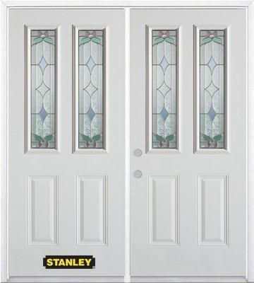 70-inch x 82-inch Aristocrat 2-Lite 2-Panel White Double Steel Door with Astragal and Brickmould