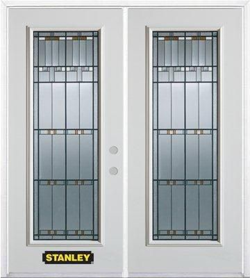 66-inch x 82-inch Chicago Full Lite White Double Steel Door with Astragal and Brickmould