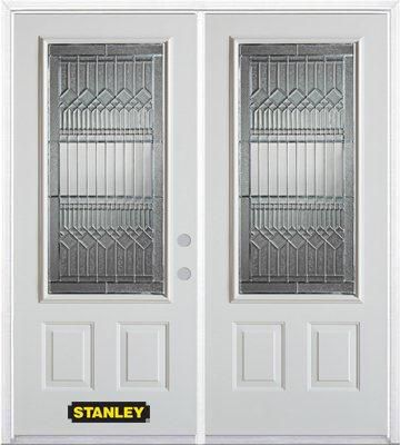 70-inch x 82-inch Lanza 3/4-Lite 2-Panel White Double Steel Door with Astragal and Brickmould