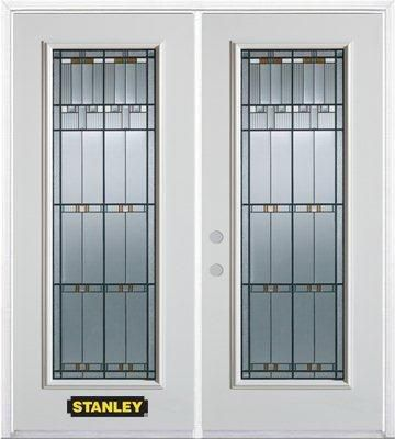 74-inch x 82-inch Chicago Full Lite White Double Steel Door with Astragal and Brickmould