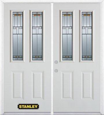 Porte dentrée double en acier préfini blanc, munie de deux panneaux et de deux verre, 70 po x 82 ...