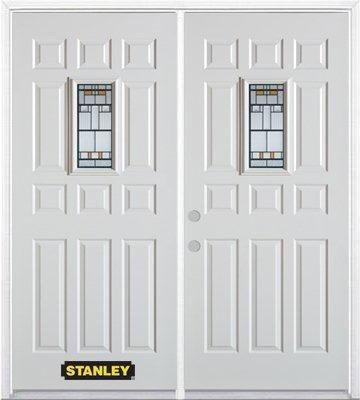 Porte dentrée double en acier préfini blanc, munie d'onze panneaux et dun verre rectangulaire de ...
