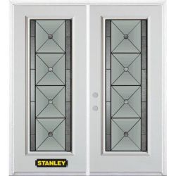 Stanley Doors 71 inch x 82.375 inch Bellochio Patina Full Lite Prefinished White Right-Hand Inswing Steel Prehung Double Door with Astragal and Brickmould