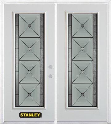 Stanley Doors 75 inch x 82.375 inch Bellochio Patina Full Lite Prefinished White Left-Hand Inswing Steel Prehung Double Door with Astragal and Brickmould