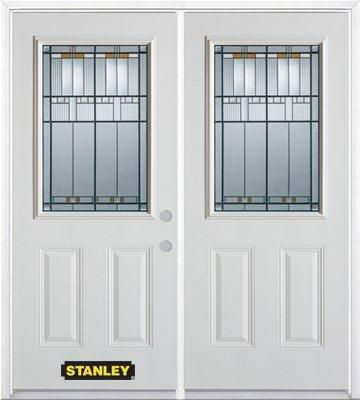 70-inch x 82-inch Chicago 1/2-Lite 2-Panel White Double Steel Door with Astragal and Brickmould