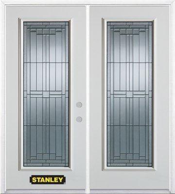 Porte dentrée double en acier préfini blanc, munie d'un panneau de verre, 74 po x 82 po avec astr...