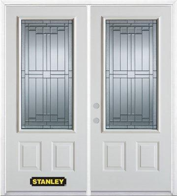 74-inch x 82-inch Seattle 3/4-Lite 2-Panel White Double Steel Door with Astragal and Brickmould