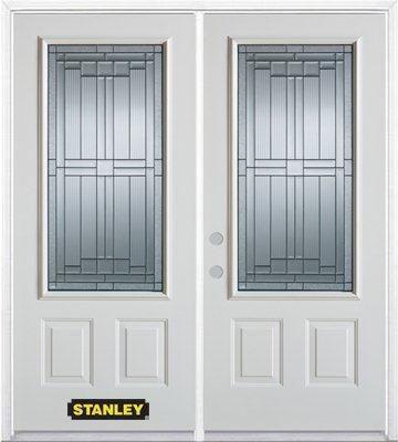 Porte dentrée double en acier préfini blanc, munie de deux panneaux et dun 3/4 verre, 74 po x 82 ...