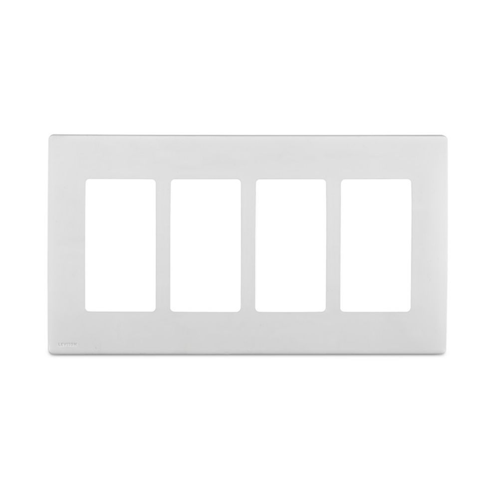 4-Gang Screwless Snap-On Wallplate for 4 Devices, in White on White