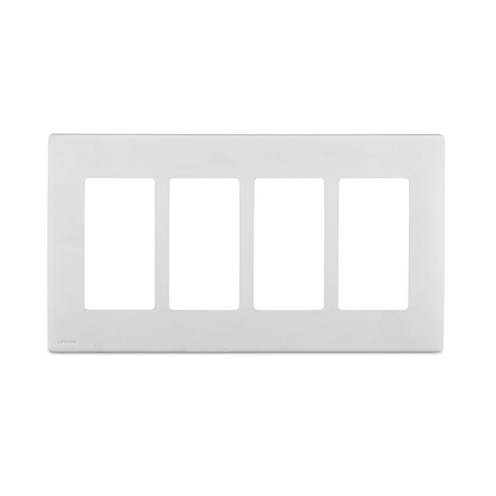 Plaque sans vis enclipsable Renu pour quatre dispositifs, en blanc sur blanc.