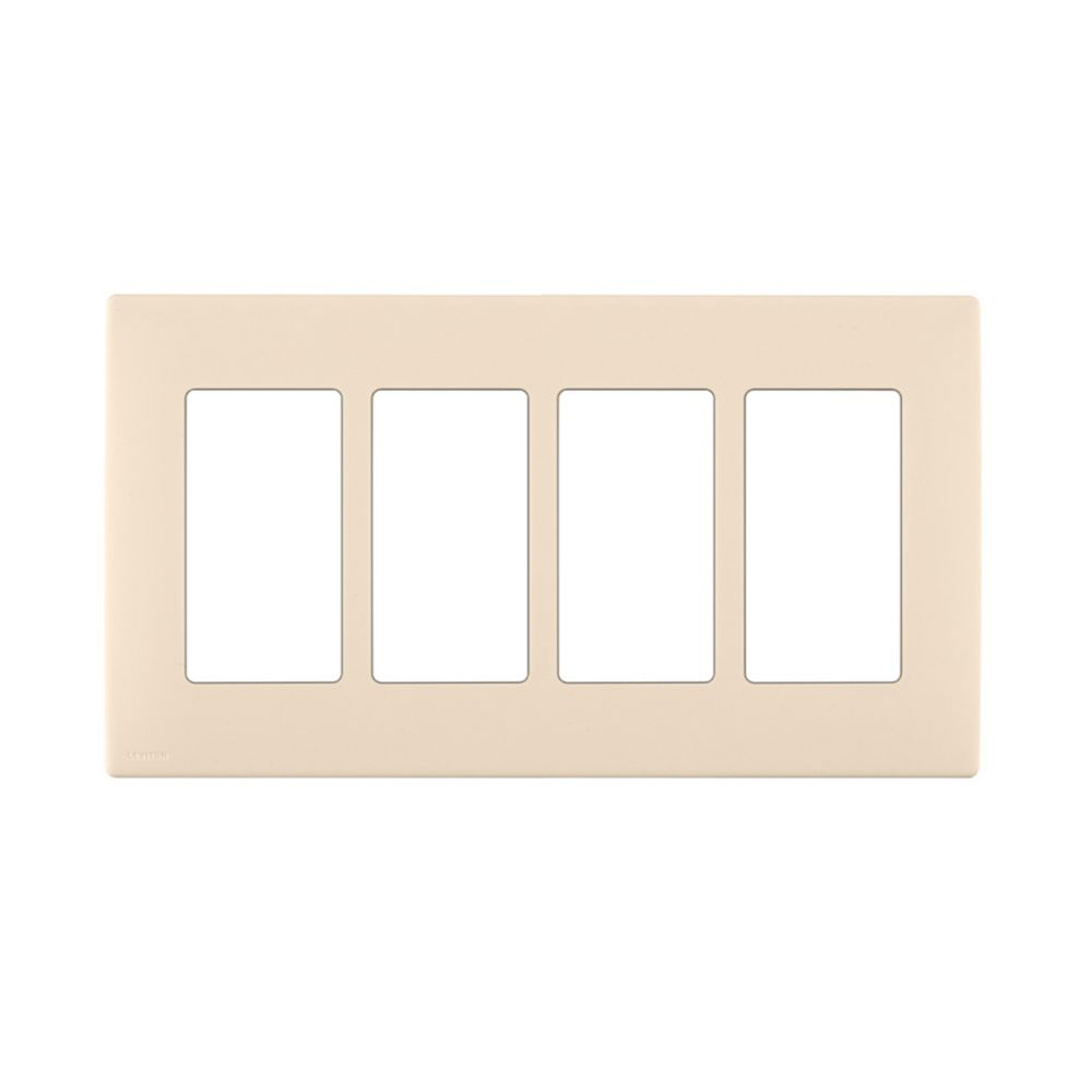 4-Gang Screwless Snap-On Wallplate for 4 Devices, in Gold Coast White