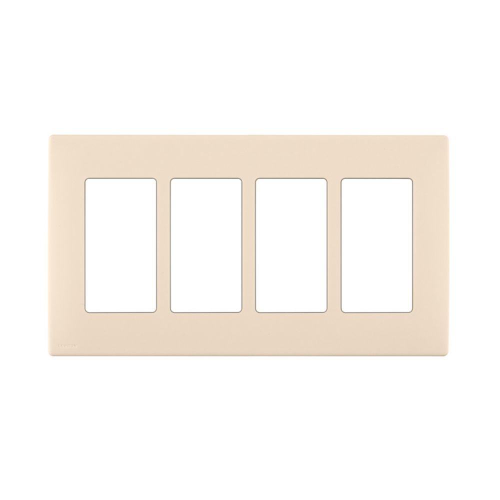 Plaque sans vis enclipsable Renu pour quatre dispositifs, en blanc Côte d'Or.