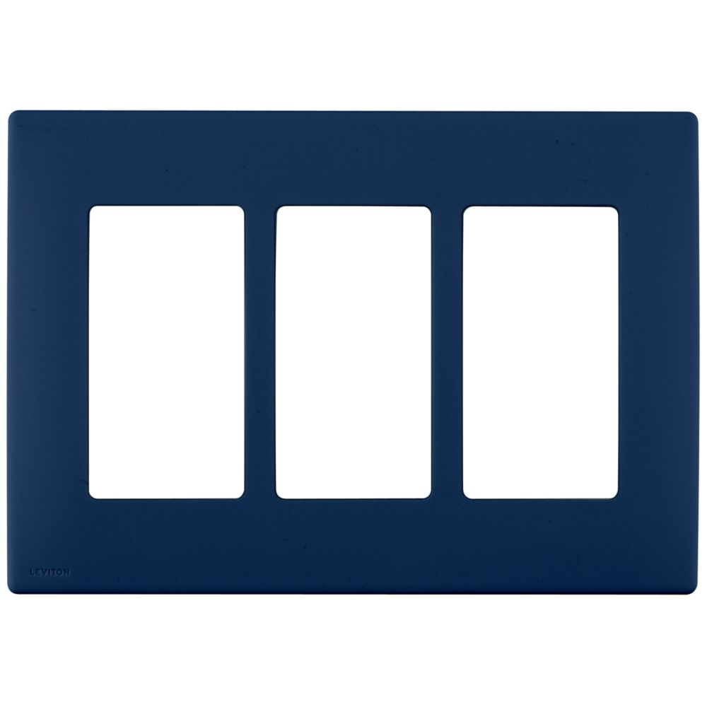 3-Gang Screwless Snap-On Wallplate for 3 Devices, in Rich Navy