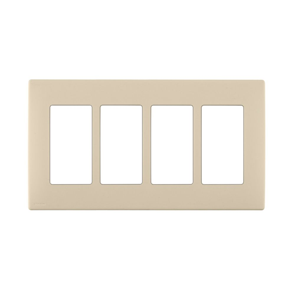 4-Gang Screwless Snap-On Wallplate for 4 Devices, in Wispering Wheat