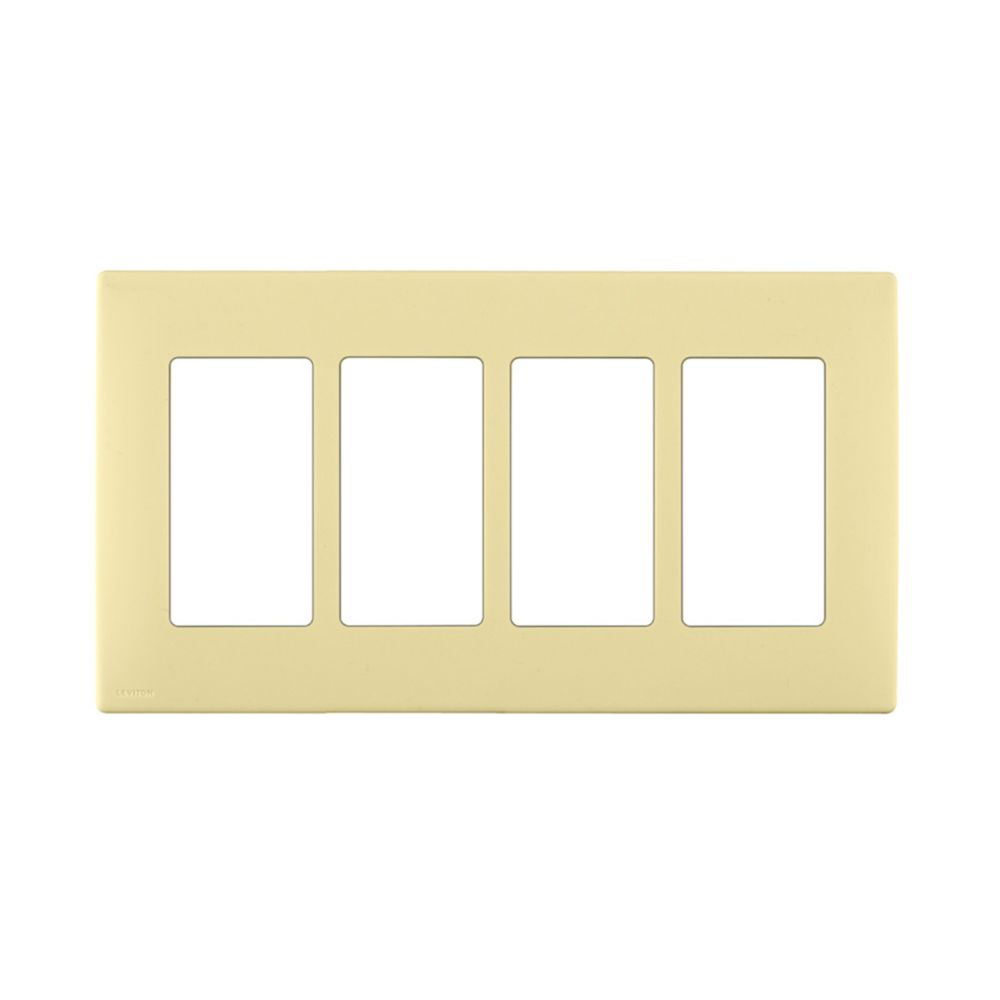 4-Gang Screwless Snap-On Wallplate for 4 Devices, in Corn Silk