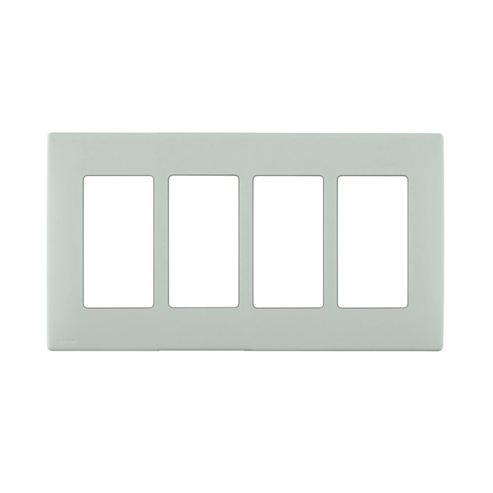 4-Gang Screwless Snap-On Wallplate for 4 Devices, in Sea Spray