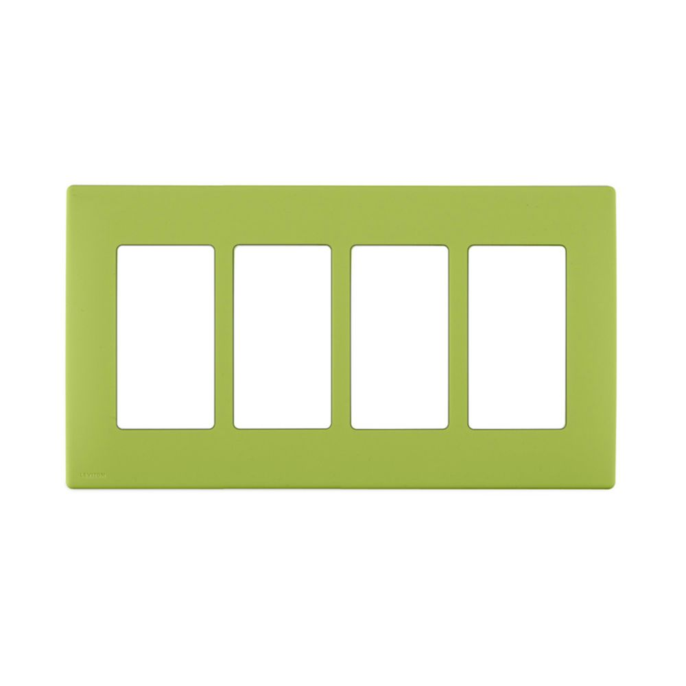 4-Gang Screwless Snap-On Wallplate for 4 Devices, in Granny Smith Apple