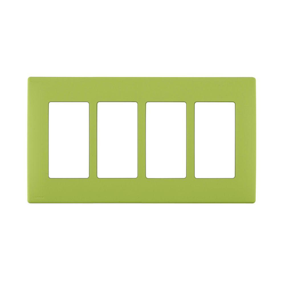 Plaque sans vis enclipsable Renu pour quatre dispositifs, en vert Granny Smith.