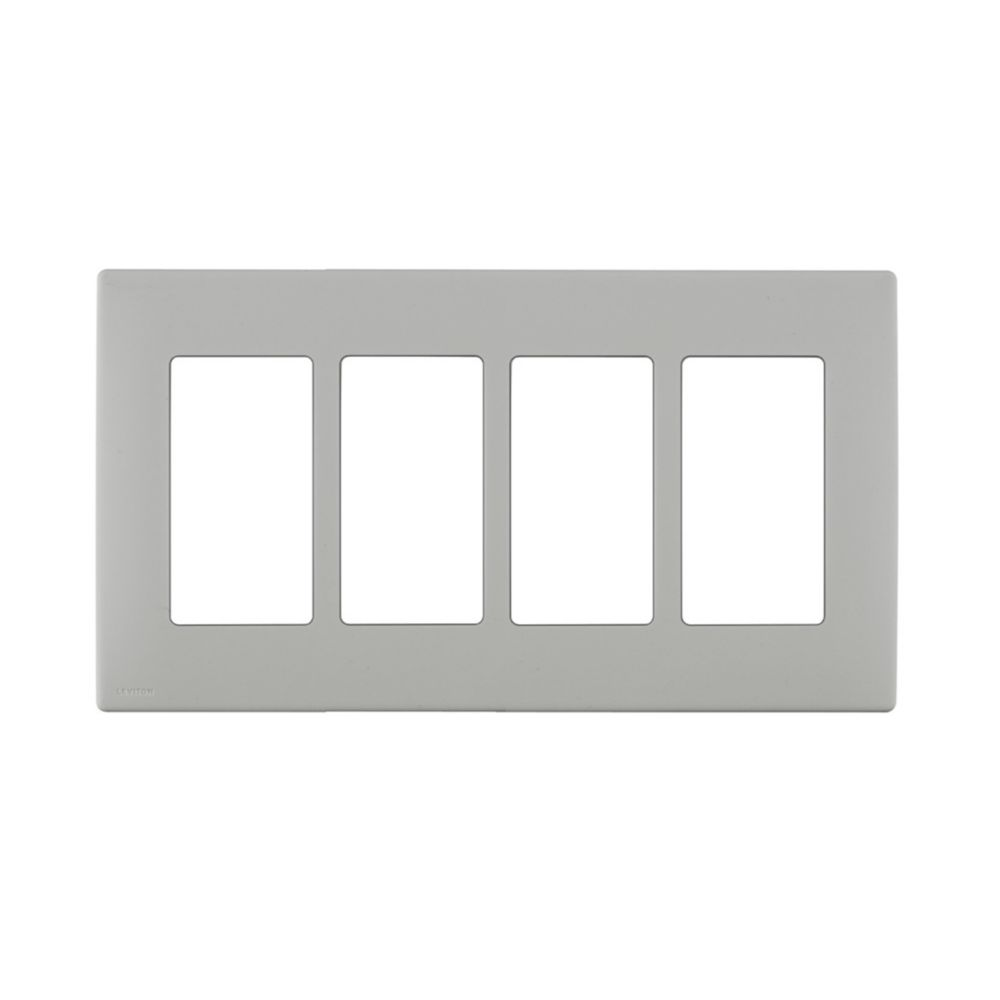 4-Gang Screwless Snap-On Wallplate for 4 Devices, in Pebble Gray