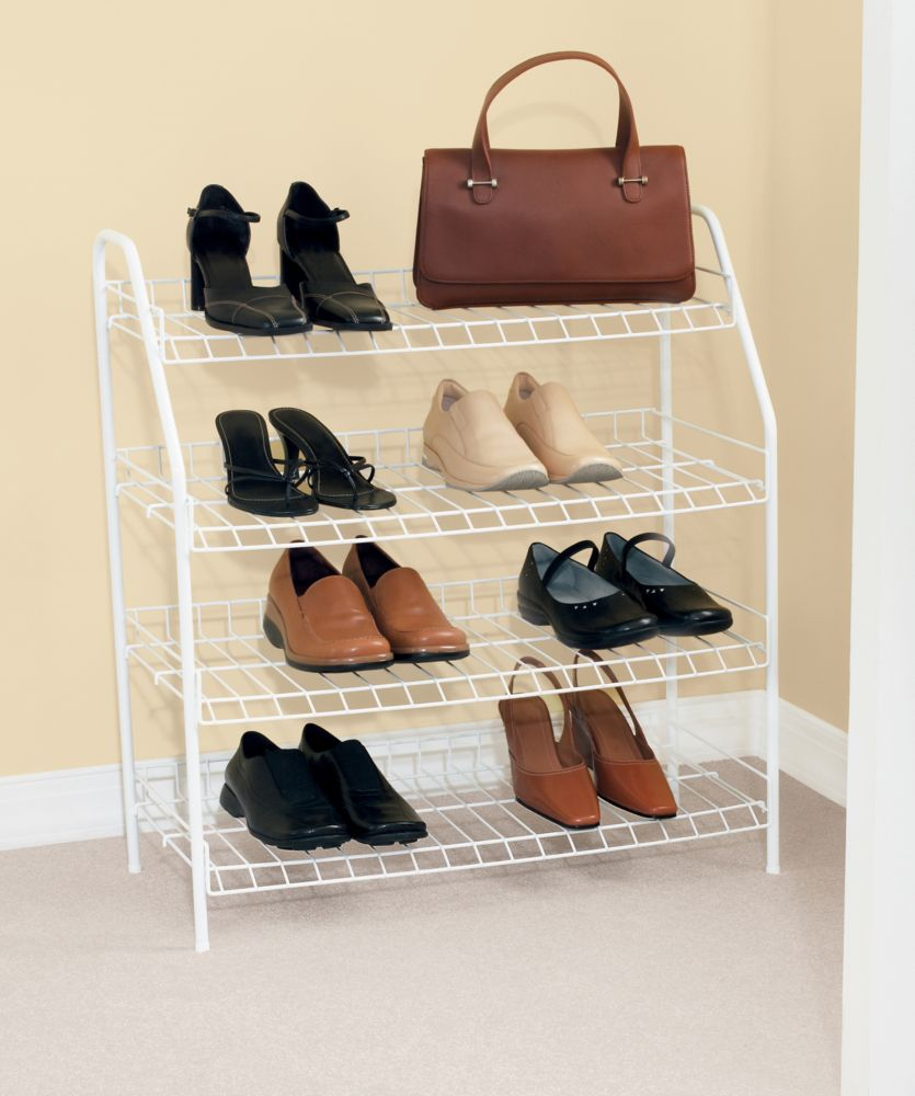 4 Tier Shoe Shelf 27-7/8-Inch H By 25-3/4-Inch W By 11-5/8-Inch D.
