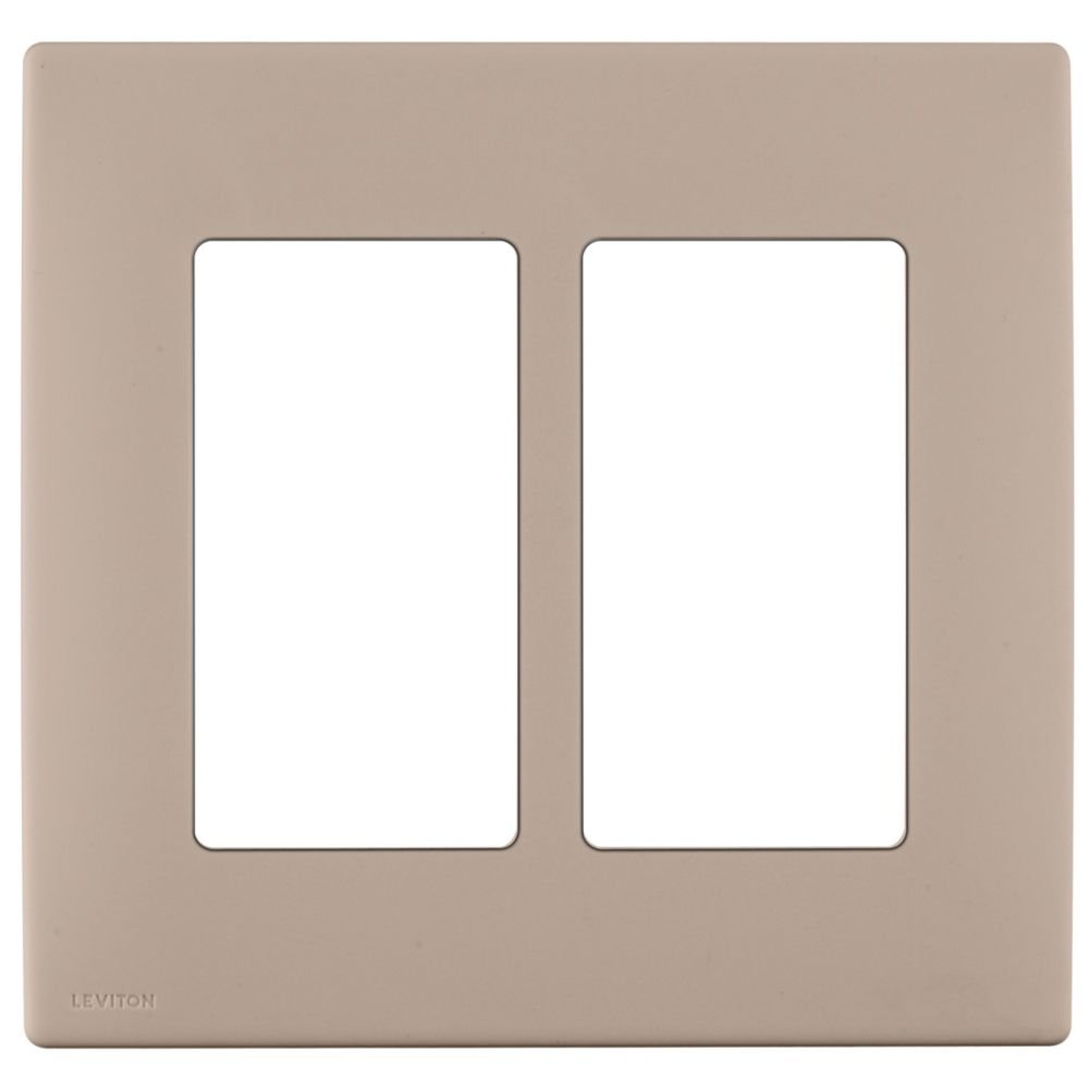 2-Gang Screwless Snap-On Wallplate for Two Devices, in Café Latte