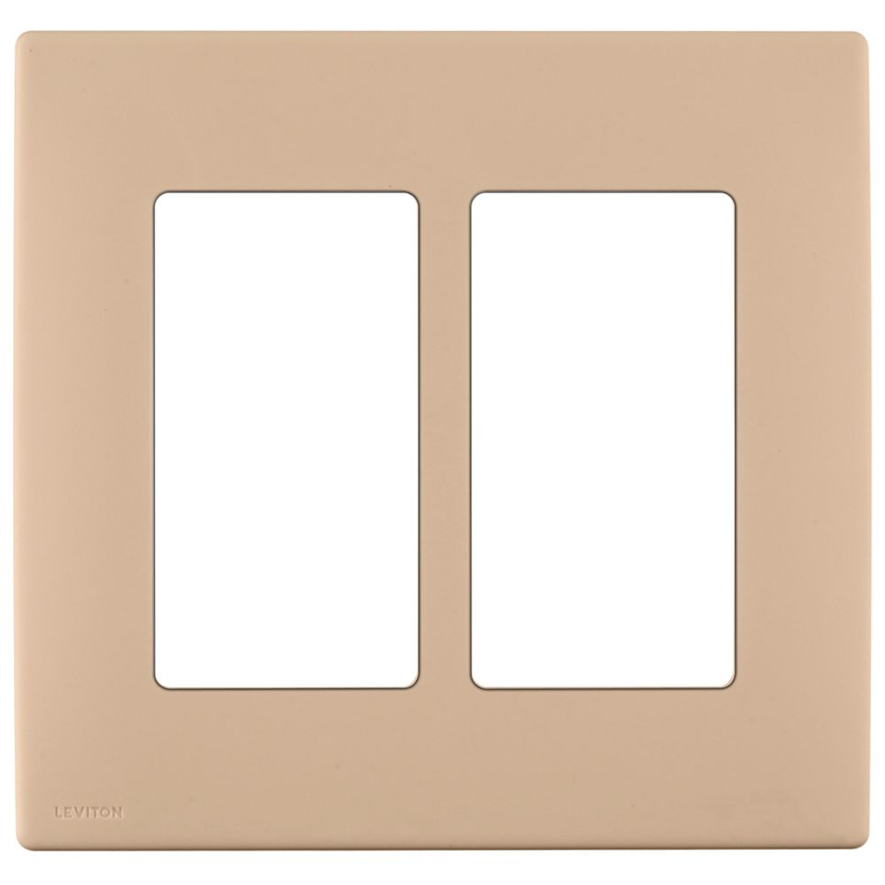 2-Gang Screwless Snap-On Wallplate for Two Devices, in Dapper Tan
