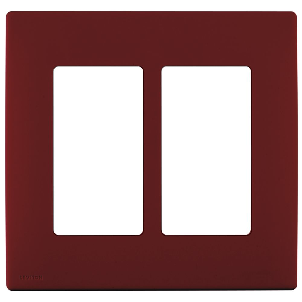 2-Gang Screwless Snap-On Wallplate for Two Devices, in Deep Garnet