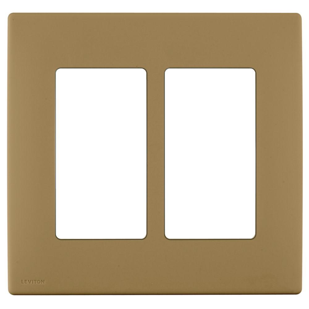 2-Gang Screwless Snap-On Wallplate for Two Devices, in Warm Caramel