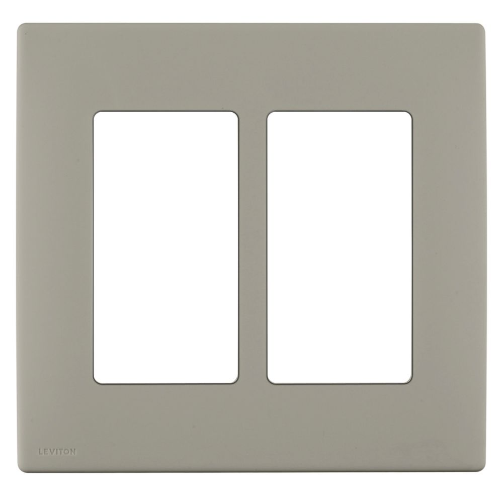 2-Gang Screwless Snap-On Wallplate for Two Devices, in Wood Smoke REWP2-012 Canada Discount