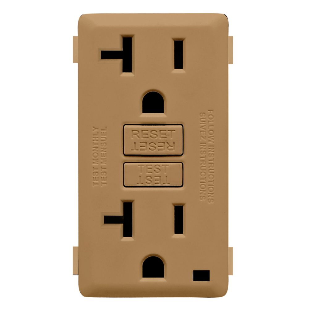20A Colour Change Kit for Tamper Resistant GFCI Receptacles, in Warm Caramel