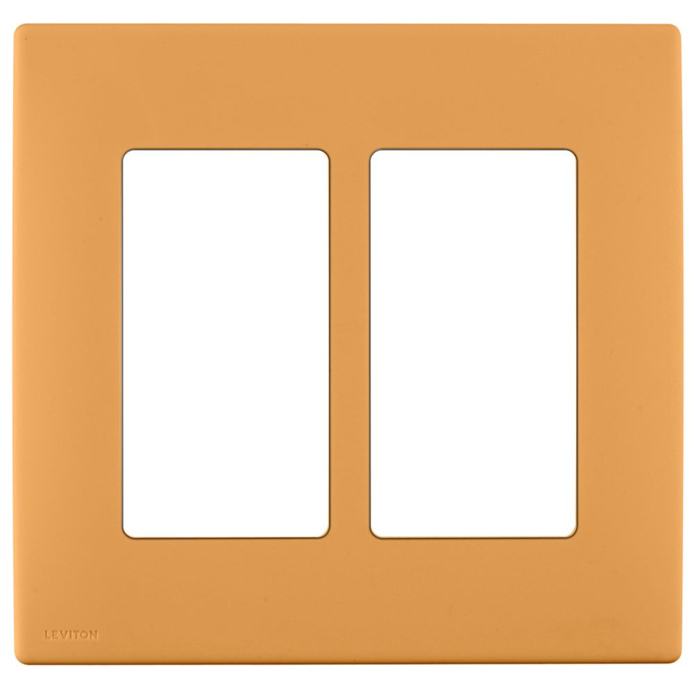 2-Gang Screwless Snap-On Wallplate for Two Devices, in Toasted Coconut