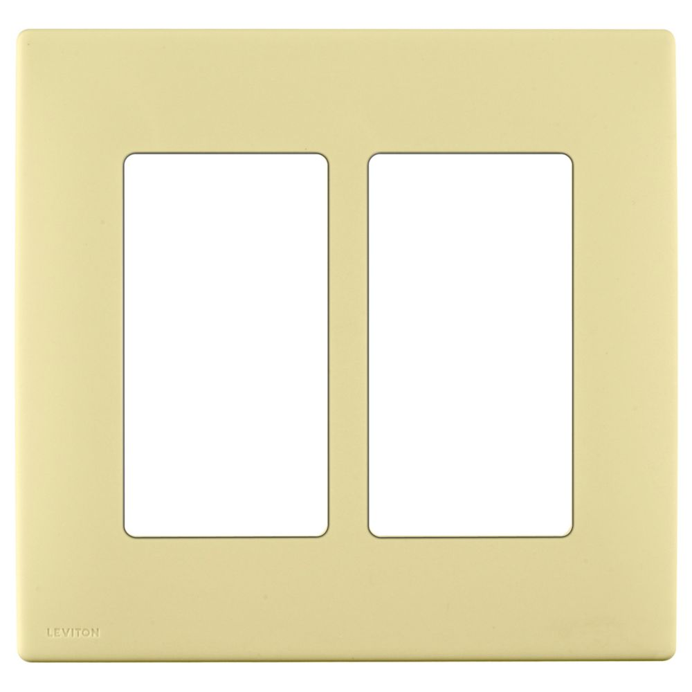 2-Gang Screwless Snap-On Wallplate for Two Devices, in Corn Silk