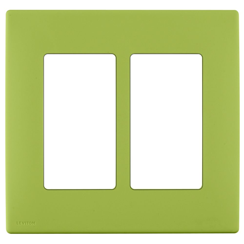 2-Gang Screwless Snap-On Wallplate for Two Devices, in Granny Smith Apple