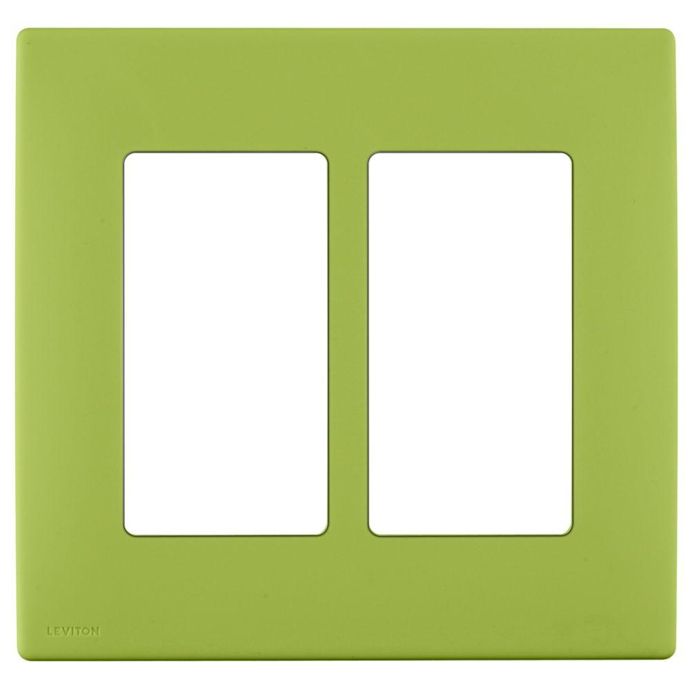 Plaque sans vis enclipsable Renu pour deux dispositifs, en vert Granny Smith.
