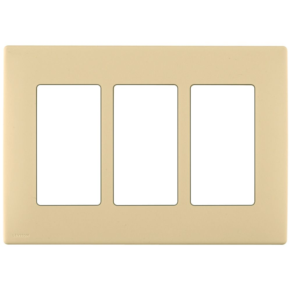 3-Gang Screwless Snap-On Wallplate for 3 Devices, in Gold Coast White