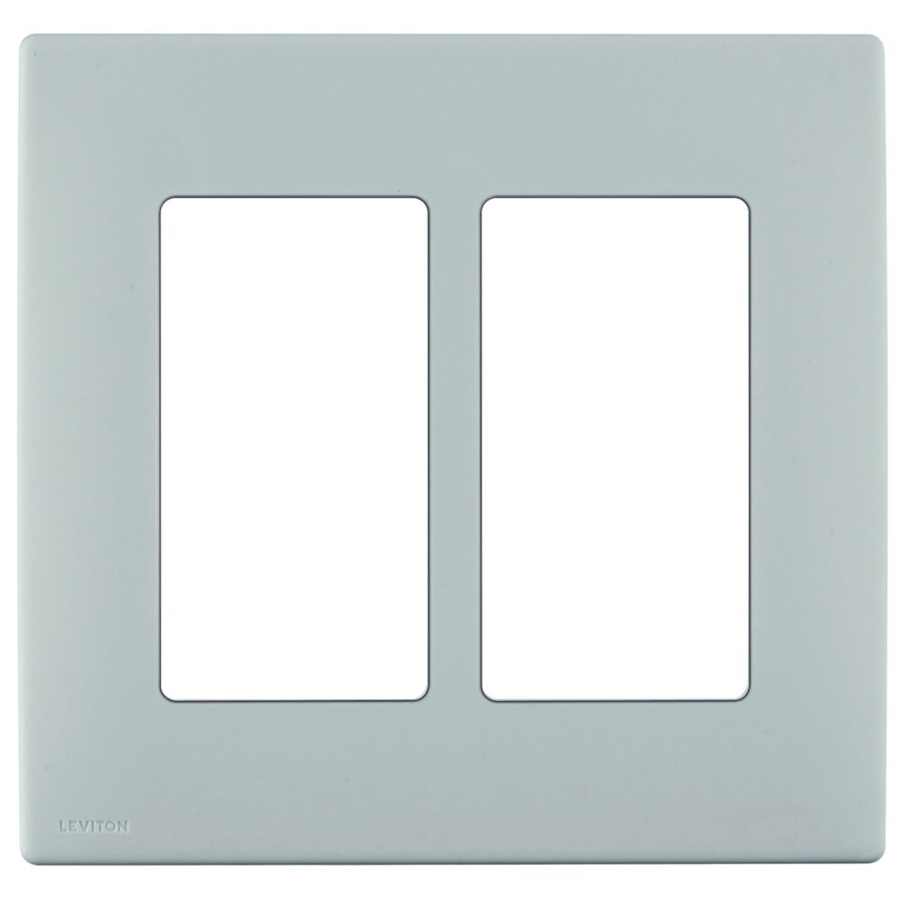2-Gang Screwless Snap-On Wallplate for Two Devices, in Sea Spray