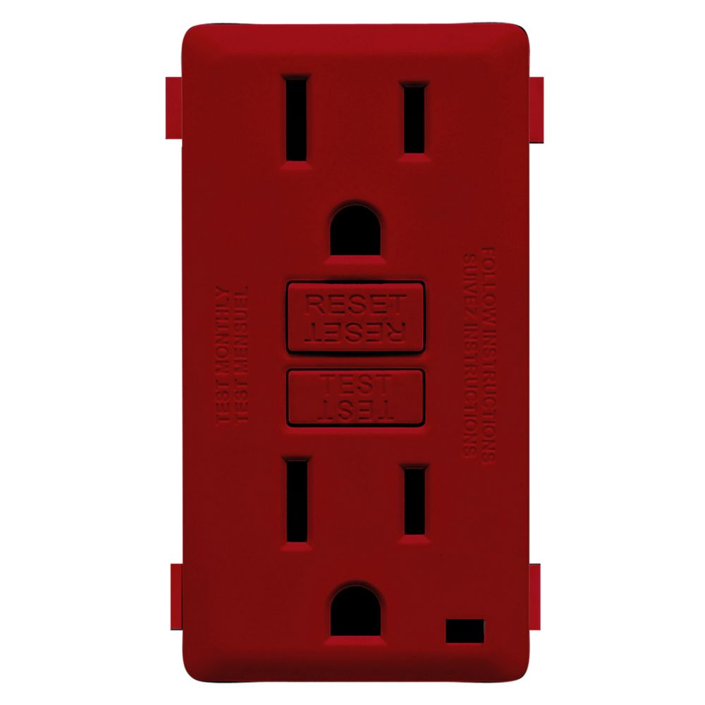 15A Colour Change Kit for Tamper Resistant GFCI Receptacles, in Red Delicious