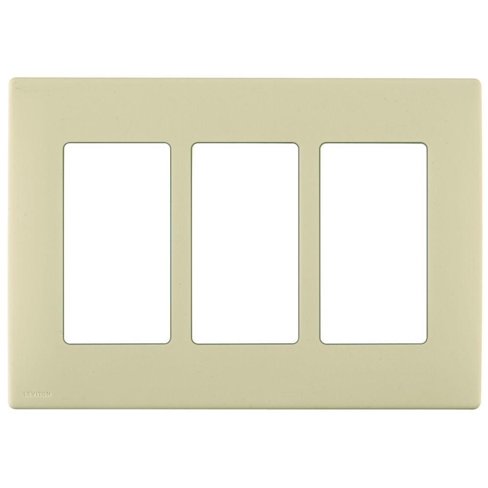 Plaque sans vis enclipsable Renu pour trois dispositifs, en  blé discret.