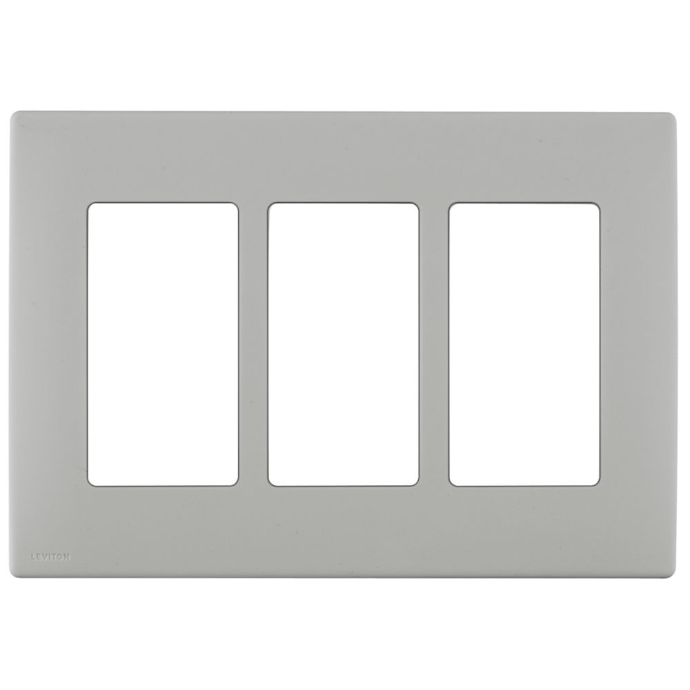 3-Gang Screwless Snap-On Wallplate for 3 Devices, in Pebble Gray