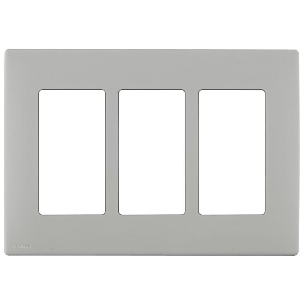 Plaque sans vis enclipsable Renu pour trois dispositifs, en gris de galet.
