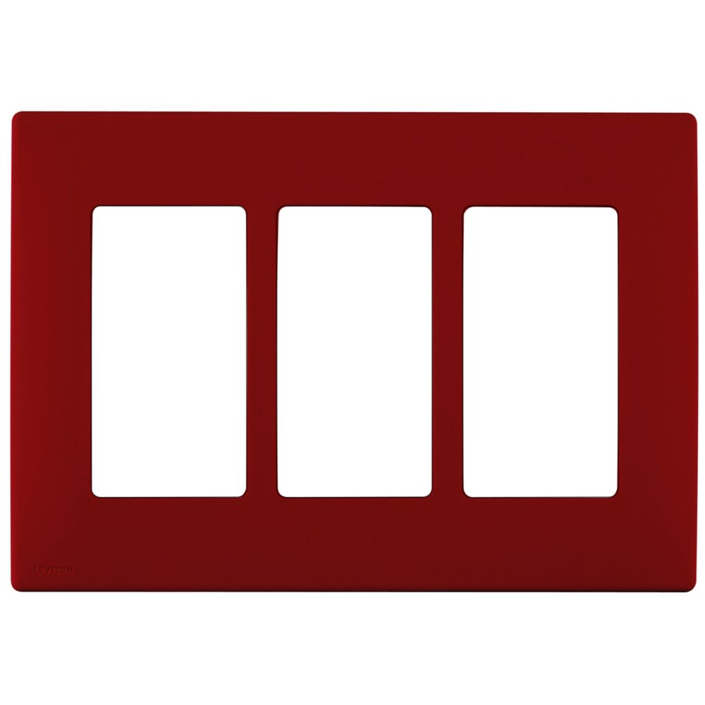 3-Gang Screwless Snap-On Wallplate for 3 Devices, in Red Delicious