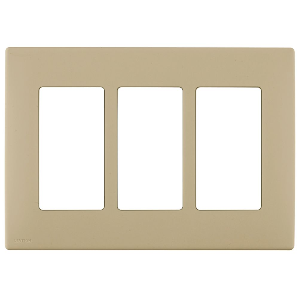 3-Gang Screwless Snap-On Wallplate for 3 Devices, in Café Latte